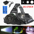 10000LM Tactical XM-L T6 LED Headlamp Zoomable HeadLight Lamp + 18650 + Charger