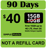 3 MONTH SIMPLE MOBILE $40 PLAN ($120 VALUE) Preloaded Preactivated Prefunded