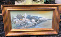 Dan Moskona Original Oil Painting Israel Skyline Signed Gilded Wood Frame VTG