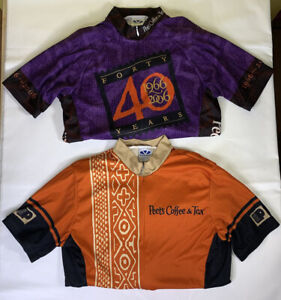 Lot of 2 Voler Peet's Coffee Cycling Jerseys Size Small Orange / Purple