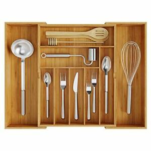 Bamboo Drawer Organizer Silverware Utensil Holder and Cutlery Tray for Kitchen