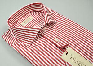 Camicia Moda Pancaldi a righe Rosse Collo alla Francese Slim Fit in puro Cotone