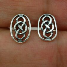 Handcrafted Sterling Silver 925 Oval Large Celtic Knot Stud Silver Earrings