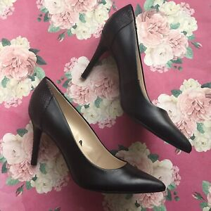 Marc Fisher Black Dalina Pump Heel Pointed Toe Leather Pattern Women's Size 7.5M