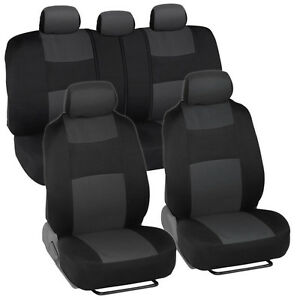 Car Seat Covers for Ford Fusion 2 Tone Charcoal & Black w/ Split Bench