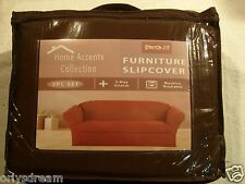 STRETCH FIT 3 Pcs Furniture Slipcover Set,Sofa/Couch+Loveseat+Chair Covers-BROWN