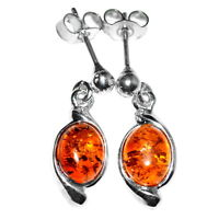 2.85g Authentic Baltic Amber 925 Sterling Silver Earrings Jewelry N-A5442