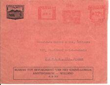 Malaria Netherlands RARE !!  Meterstamp Cover KININE OFFICE 1935 to Paris