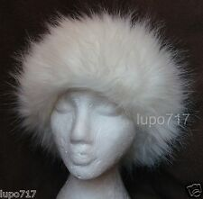 WHITE FLUFFY FAUX FUR HEADBAND HAT SKI EAR WARMER MUFFS NEW ONE SIZE 10CM WIDE