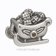 Authentic Pandora Sterling Silver Santa's Sleigh Garnet Bead 790562GA