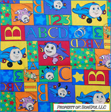 BonEful FABRIC FQ Cotton Jay Jet Plane Patchwork Star Baby Quilt ABC 123 Rainbow