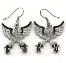 Angel Wing Western Cowboy Cowgirl Dual Revolver Pistol Gun Dangle Earrings j2
