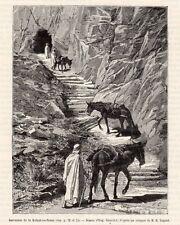 ALGERIE ALGERIA ASCENCION DE LA KALAAT ES SNAM SENAN CHEVAL IMAGE 1887 OLD PRINT