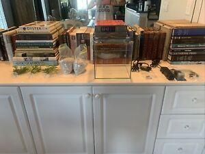 Betta Fish Starter Kit - Aquaeon Rimless 1Gal Tank/Filter/Heater/Plants/Gravel