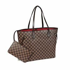 Checkered Tote Shoulder Bag with Inner Pouch - PU Vegan Leather Brown