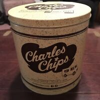 "CHARLES CHIPS   1 LB. (Empty)  Tin - Can, 8.25"" x 8.00"""
