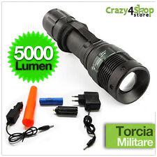 TORCIA MILITARE LED CREE TATTICA 5000 LUMENS CON ZOOM RICARICABILE CONO