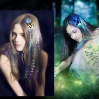 2Stk LED Haar Flashing Bunte Schmetterling Clip Geflecht Haarnadel Mädchen Party