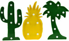 Set Of 3 Light Up LED Tropical Ornaments - Cactus, Pineapple, Palm Tree