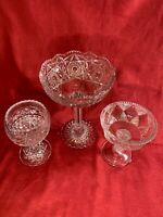 Lot of 3 Vintage ABP American Brilliant Period Cut Crystal Glass Stem Serving j9