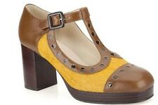 BNIB CLARKS ORLA KIELY MARY JANE DOTTY SHOES UK 3.5, US 6, EU 36 OCHRE PONY