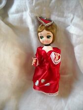 vintage Valentines day decoration boudoir Bradley doll red satin dress old
