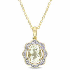 Amour Yellow Plated Silver Green Amethyst & 1/10ct TGW Diamond Pendant