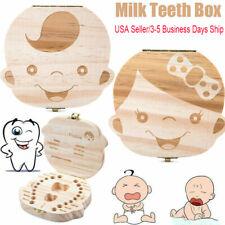 Tooth Box Organizer Milk Teeth Wood Storage First Tooth Keepsake Baby Kid Box Us