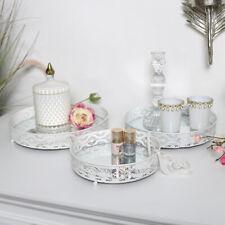 White mirrored display tray set shabby chic vintage wedding home decor gift set