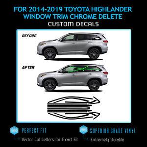 For 2014-2019 Highlander Window Trim Chrome Delete Blackout - Gloss Black Vinyl