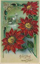 AK, Prägekarte, Neujahrskarte - Rote Blumen m. Kirche in Hinterg., 1914; 5026-77