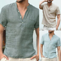 Summer Mens Cotton Linen T Shirt Henley Tops Casual Loose V Neck Short Sleeve