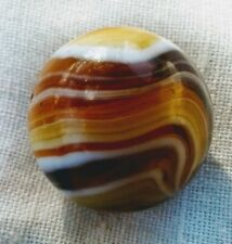 """5/8"""" M.F. Christensen Amber Slag With a 9 & Tail Vary rare & Old Marble In..."""