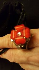 New Silver Toned Bozhi Quartz Red Flower Flexible Ring Watch