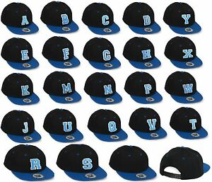 Casual Snap back Baseball Cap Caps adjustable snap back blue letter A-Z