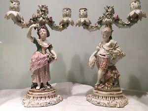Pair Of Antique 19thc German Meissen Style Porcelain Candelabra