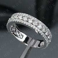 2Ct Round Cut Diamond Wedding Anniversary Band Ring Real Solid 10k White Gold