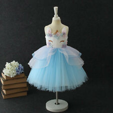 Niñas Unicornio Disfraz Cosplay Fiesta Vestido elegante de princesa con volantes