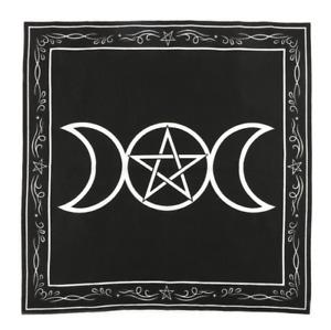 TRIPLE MOON ALTAR CLOTH Pentagram 70X70CM Wicca Pagan Ritual Goth Pentacle Witch