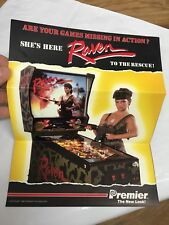 RAVEN-GOTTLIEB 1986-NOS PINBALL MACHINE PROMO SALES FLYER-Rambo Chick - Gun-Girl