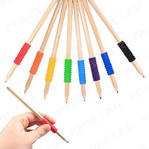 8pc Soft Comfort Grip Pencils ASSORTED Colouring Wood Arts Crafts Multi Colour