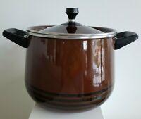 VTG Enamel ware Stock Pot Cookware With Lid Brown Black Stripes Retro 2 handle