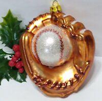 "VTG Baseball Glove Ball Mercury Glass Christmas Ornament MICA about 4"" SPORTS"