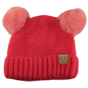 CC Kids Fleeced Lined Ages 2-5 Soft Thick 2ear PomPom Knit Beanie Ski Cap