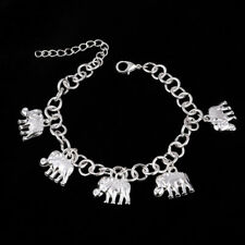 New Silver Plated Elephant Charm Bracelet Chain African Lucky Ethnic Hippy Gift