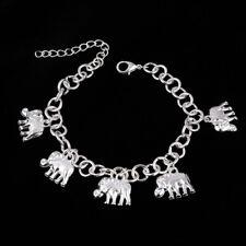 Nouveau Plaqué Argent Éléphant Bracelet Breloque Chaîne africaine Lucky Ethnique Hippie Cadeau