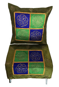 Kissenbezug 40x40 Grün Indien Orient Ornamente Bollywood Patchwork (X21)