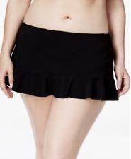 NWT Profile by Gottex Plus Size Solid Ruffle-Hem Swim Skirt Black 20W