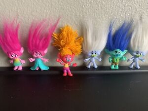 Lot Of 6 Hasbro DreamWorks Trolls Movie Collectible Dolls Toys Figures