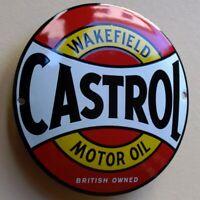 CASTROL Motor Oil Emailschild MAKELLOS Tankstelle Benzin Auto Motoröl WAKEFIELD